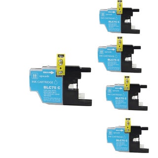 Brother LC75 C Compatible Inkjet Cartridge for DWMFCAN-J6710 DWMFCAN-J6910 DWMFCAN-J825 DWMFCAN-J835DW (Pack of 5)