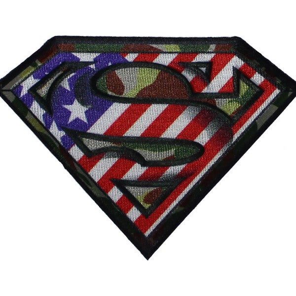 DC Comics PatchPatriotic Superman Logo 3inX4in