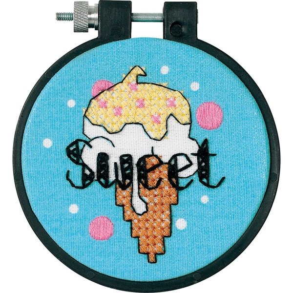 LearnACraft Sweet Ice Cream Stamped Cross Stitch Kit3in Round