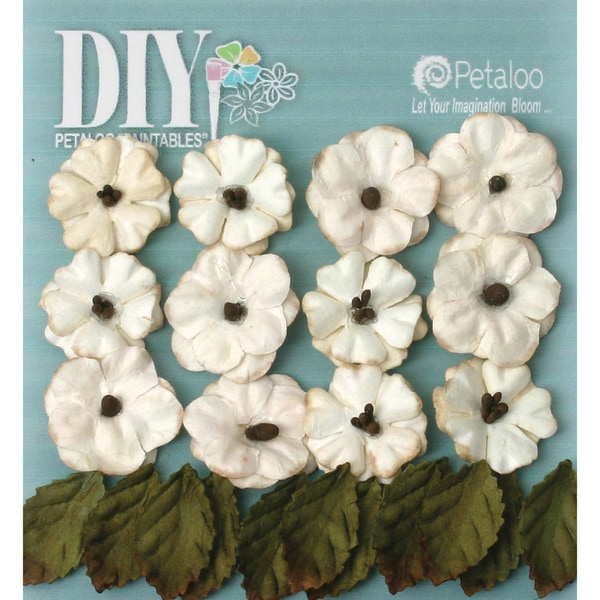 DIY Paintables Petite Flowers & Leaves .75in 24/PkgTea Stained Cream