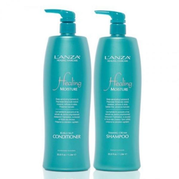 Lanza Healing Moisture Tamanu Cream Shampoo and Kukui Nut Conditioner Liter Duo
