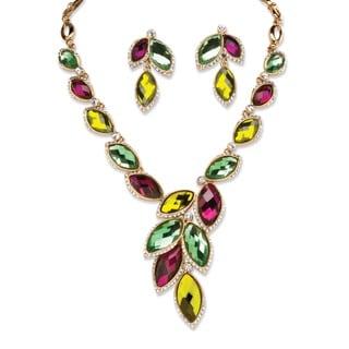 PalmBeach Goldtone Bold Fashion Marquise Crystal Jewelry Set