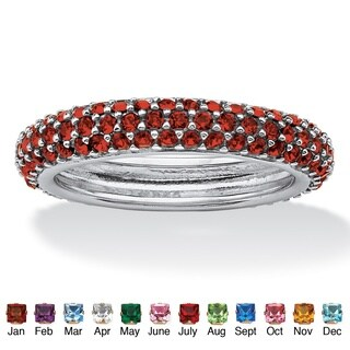 PalmBeach Color Fun Sterling Silver Pave-Set Birthstone 3-row Eternity Band Ring