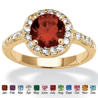 PalmBeach Color Fun Yellow Goldtone Round Birthstone and Cubic Zirconia Ring