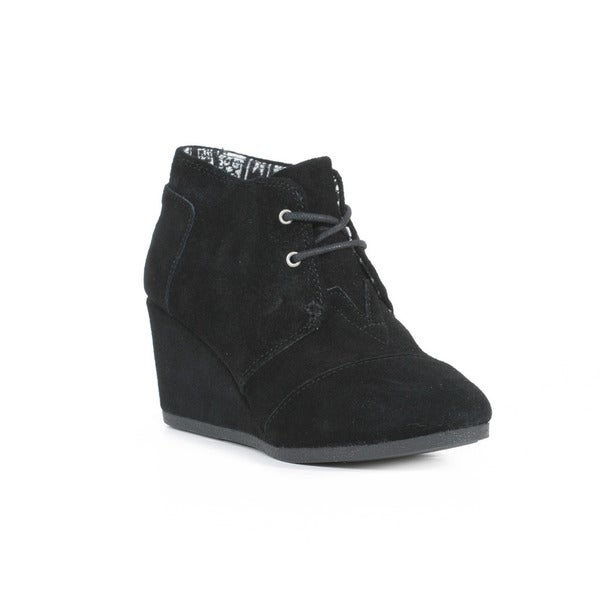 Toms Women's Black Suede Desert Wedge