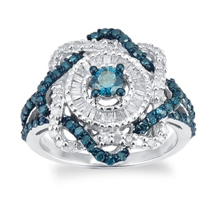 Sterling Silver 1.0ct TDW Blue And White Diamond Twist Ring (H-I, I2-I3)