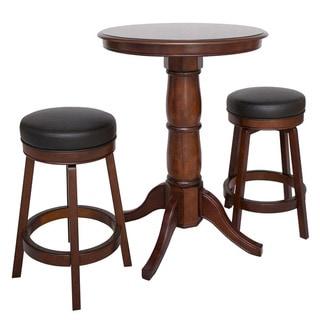 "Oxford 3 Piece Hardwood Pub Table Set - Walnut Finish - Table: 30"" dia x 40""H; Stool: 20"" dia x 26""H"