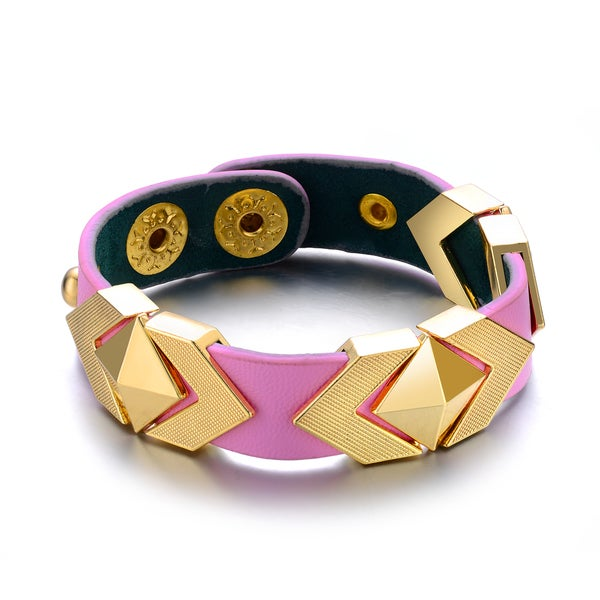 Pink Vegan Leather Goldtone Metal Pyramid Cuff Bracelet