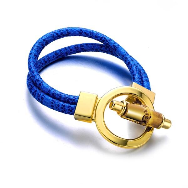 Blue Geunine Leather Goldtone Turn-lock Cuff Bracelet
