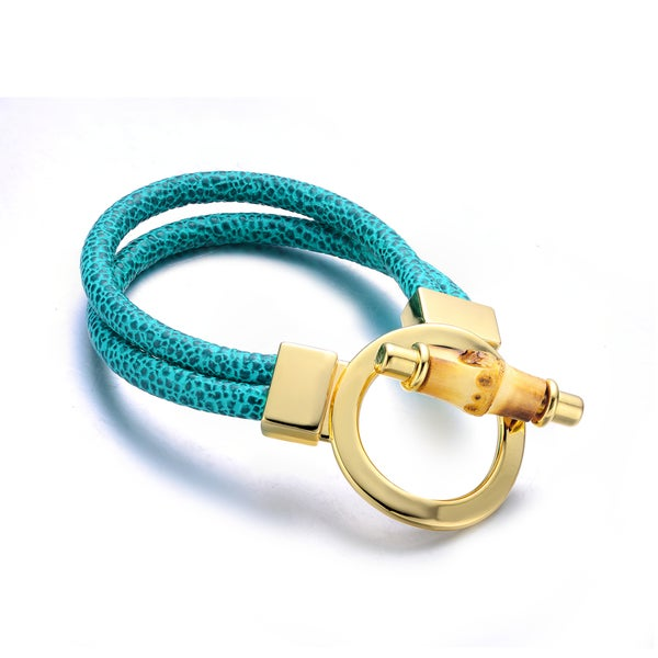 Green Geunine Leather Goldtone Turn-lock Cuff Bracelet