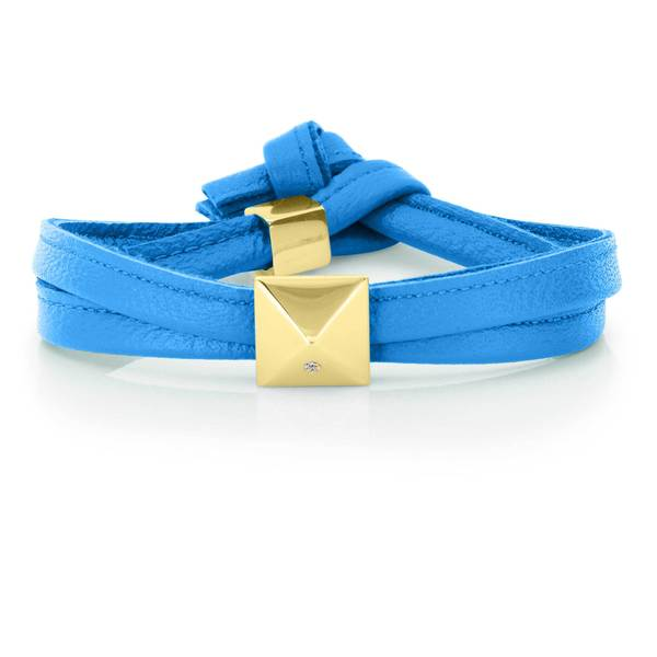 Cobalt Blue Genuine Leather Goldtone Pyramid Stud Wrap Bracelet
