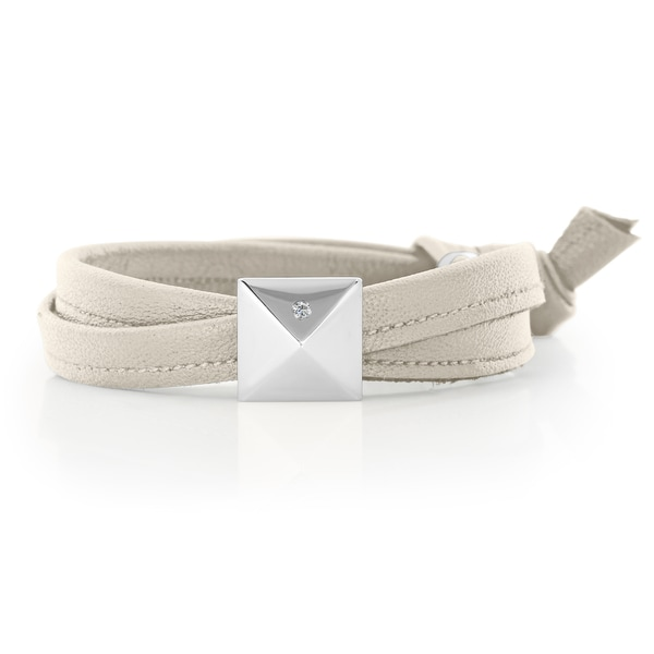 Pearl Grey Genuine Leather Silvertone Pyramid Stud Wrap Bracelet