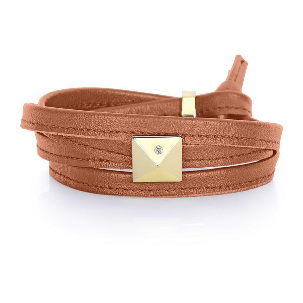 Luggage Brown Genuine Leather Goldtone Pyramid Stud Multi-wrap Bracelet