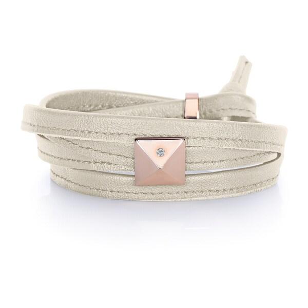 Pearl Grey Genuine Leather Rose Goldtone Pyramid Stud Multi-wrap Bracelet