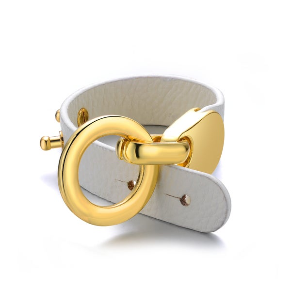White Genuine Leather Goldtone Turn-lock Cuff Bracelet