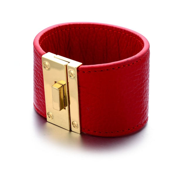 Red Genuine Leather Goldtone Buckle Cuff Bracelet