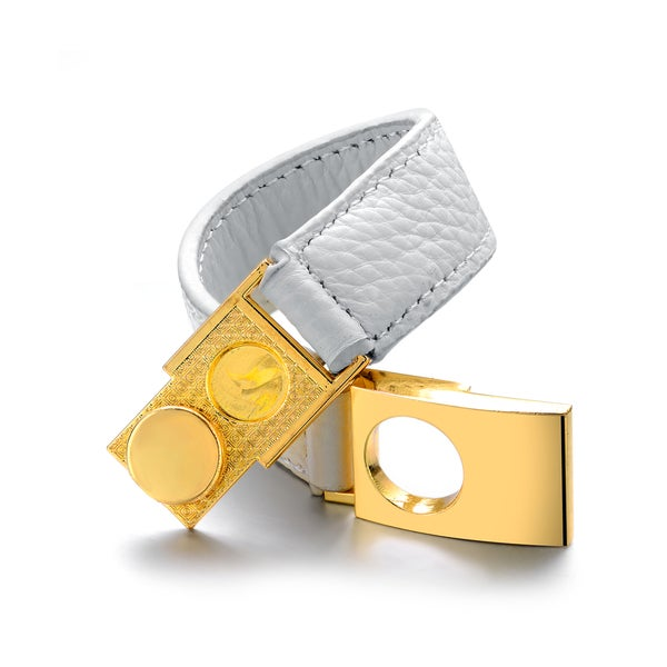Chic White Genuine Leather Goldplated Buckle Cuff