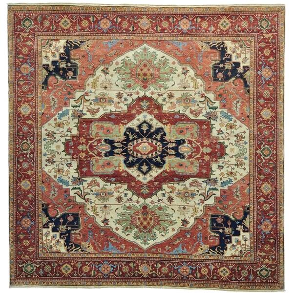 Square Antiqued Heriz Recreation Handmade Oriental Rug (9'10 x 10'1)
