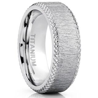 Oliveti Men's 8mm Hairline Ground Brushed Finish Titanium Comfort Fit Wedding Band