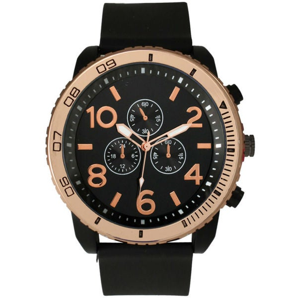 Olivia Pratt Men's Rose Gold Bezel Tachymeter Watch