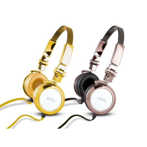 MiiKey MiiBling Gold Aluminum Headphone with Microphone and HD Audio