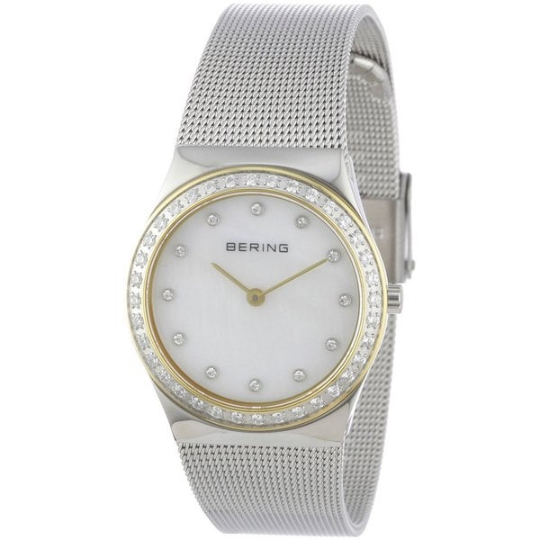 Bering Women's Swarovski Crystals Silver-Tone Stainless Steel Watch 12430-010