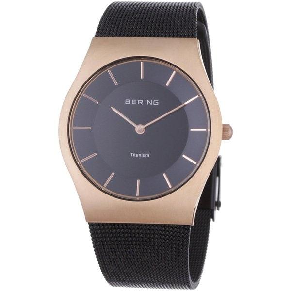 Bering Women's Brown Milanaise Mesh Titanium Rose Gold Tone Watch 11935-262