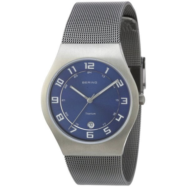 Bering Men's Grey Mesh Strap Titanium Watch 11937-007