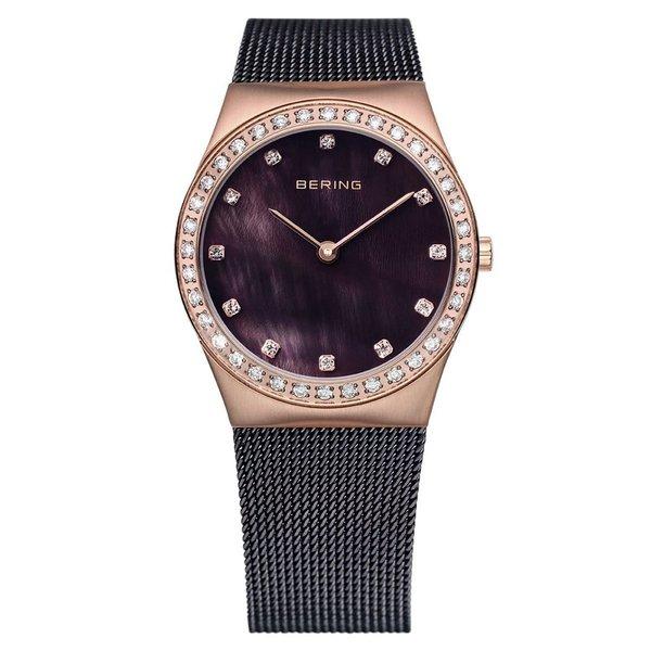Bering Women's Brown Milanaise Mesh Rose Gold Tone Watch 12430-262