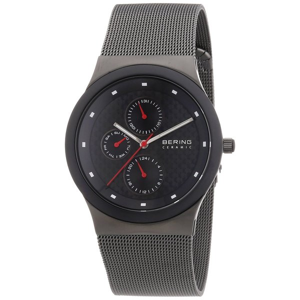 Bering Men's Chrono Ceramic Bezel Black Mesh Stainless Steel Watch 32139-309
