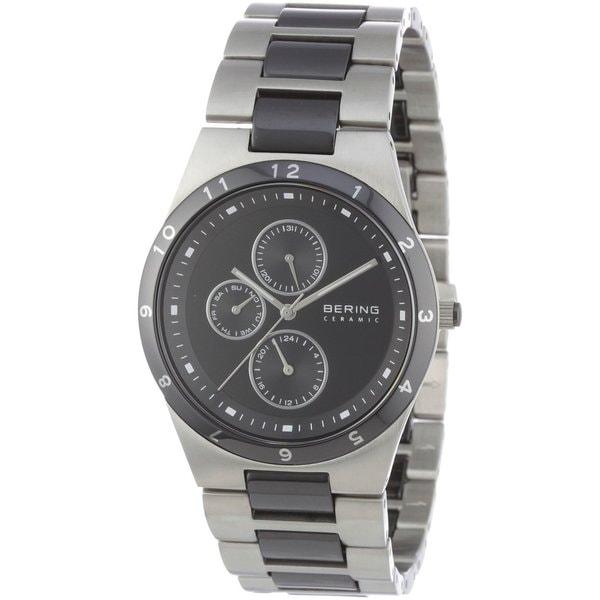 Bering Men's Chronograph Black Ceramic Silver Tone Watch 32339-742