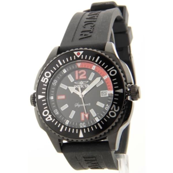 Invicta Internal Rotating Diver 2-knob Bezel Black Rubber Strap Swiss Date Watch