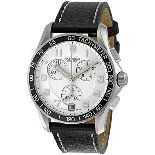 Victorinox Swiss Army Men's Chronograph Tachymeter Black Leather Watch 241496