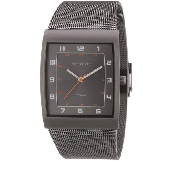 Bering Men's Classic Collection Grey Titanium Mesh Band Watch 11233-077