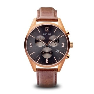 Bering Men's Classic Chronograph Rose Gold Tone Brown Leather Watch 10542-562