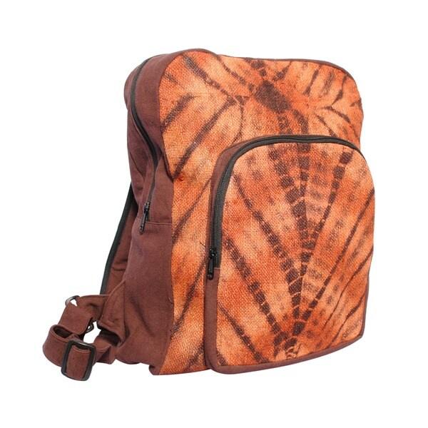 Hemp Blend Brown Tie-Dye Backpack (Nepal)