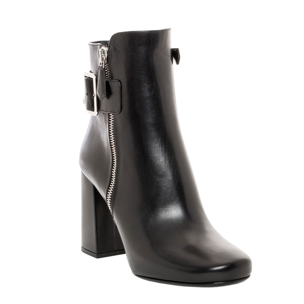 Prada Buckle Detail Leather Ankle Boots
