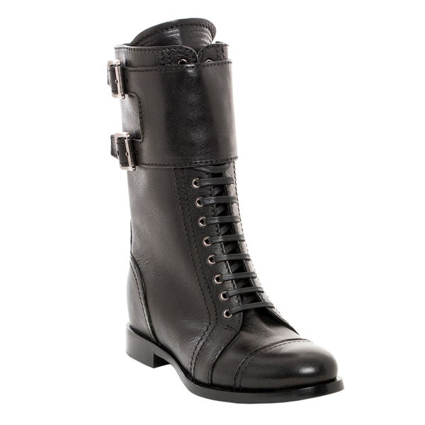 Prada Cervo Shine Lace Up Boots with Ankle Buckle