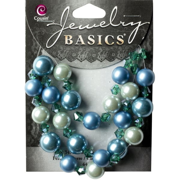 Jewelry Basics Pearl & Crystal Bead Mix 7mm & 10mm 44/PkgBlue & White Round