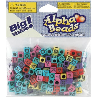 Alphabet Beads 6mm 160/PkgAssorted Colors W/Black Letters