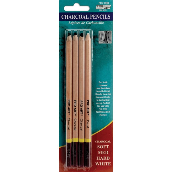 Pro Art Charcoal Pencils 4/PkgAssorted Colors