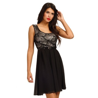 Little Mistress Women's Belted Fit and Flare Dress with Spiral Pattern