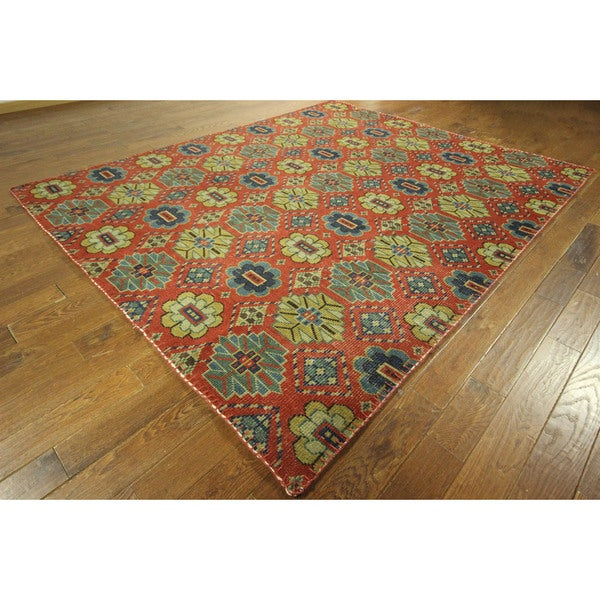 No Pile All Over Geo-floral Design Hand-knotted Coral Oushak Wool Rug (8' x 10')