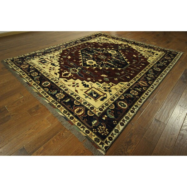 Free Pad Red-Navy Blue Fine Heriz Serapi Hand-knotted Wool Area Rug (9' x 10')
