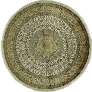 Exclusive Silk Round Hand-knotted Ivory Gumbad Design Kashan Rug (10', 10' x 10')