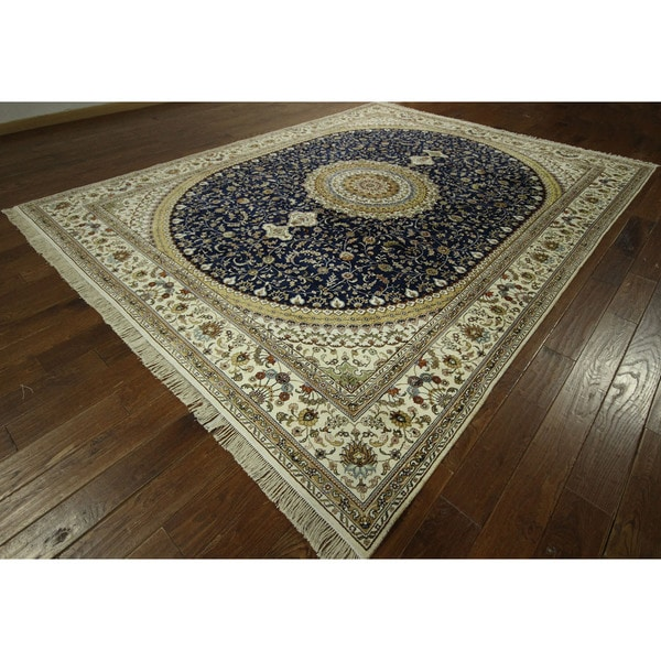 Medallion Design Hand-knotted Floral Kashan Pure Silk Blue Rug (9' x 12')