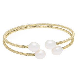 DaVonna Gold Thread and White Freshwater Pearl 2-row Bangle Bracelet