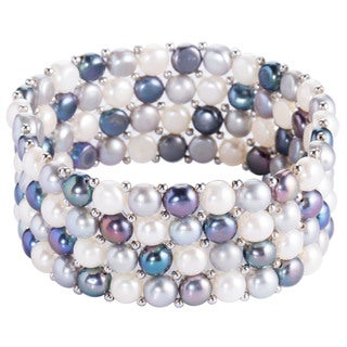 DaVonna Silver Beads and Multi-color Freshwater Pearl 3-row Stretch Bracelet (6-7mm)