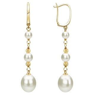 DaVonna 14k Yellow Gold White Cultured Pearls and Beads Dangle Earrings (5-10mm)
