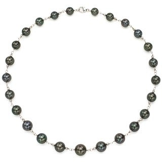 DaVonna Sterling Silver Black Tahitian Pearl and Beads Link Necklace (8-10mm)